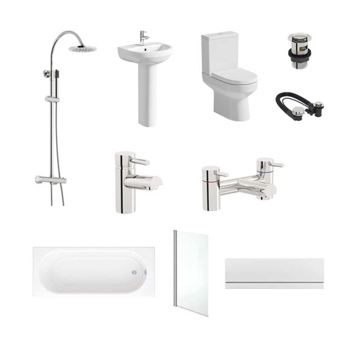 Orchard Wharfe complete bathroom suite with straight bath, shower and taps
