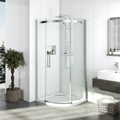 Elite 10mm single sliding door quadrant shower enclosure 900 x 900