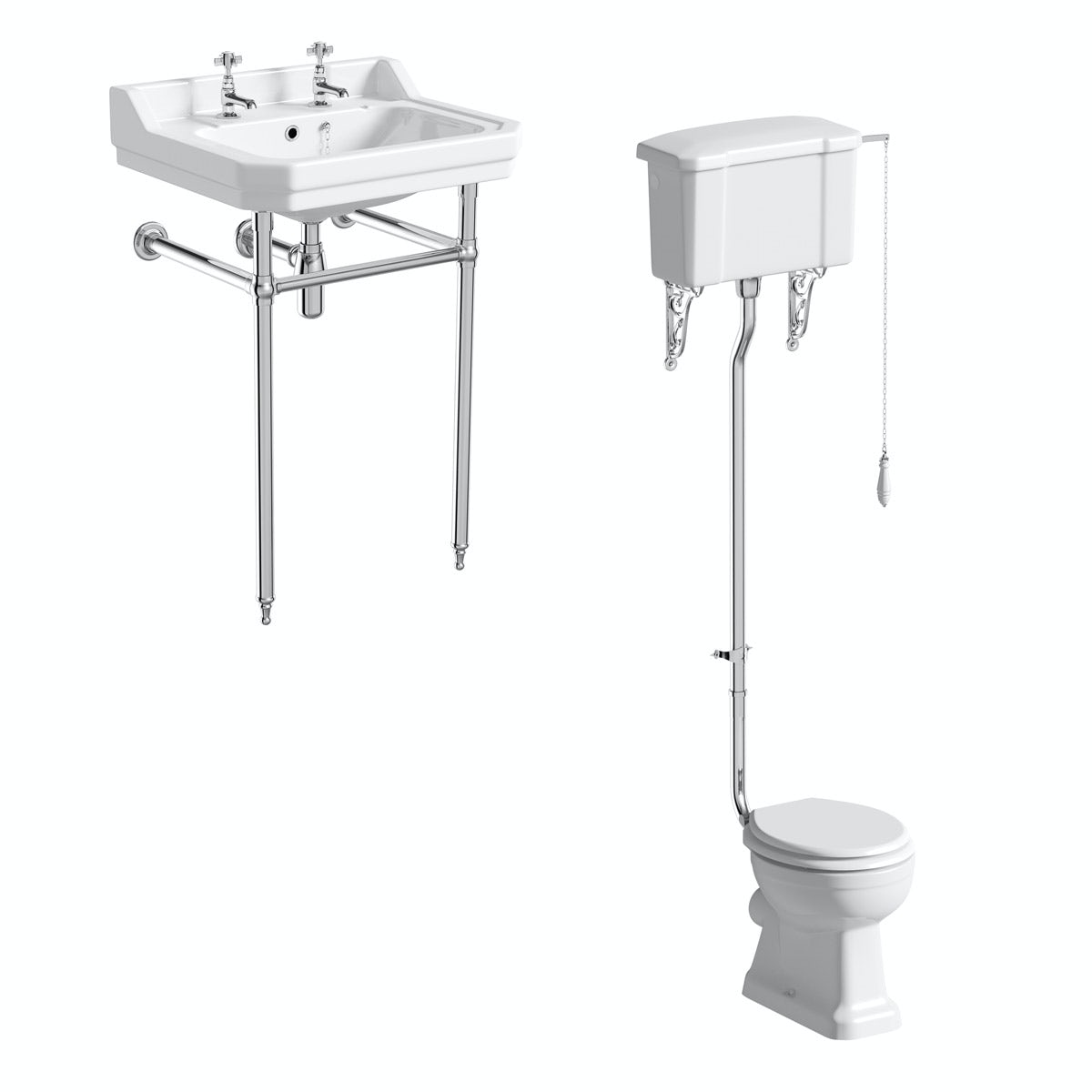 The Bath Co. Camberley cloakroom high level suite with white seat and washstand with basin