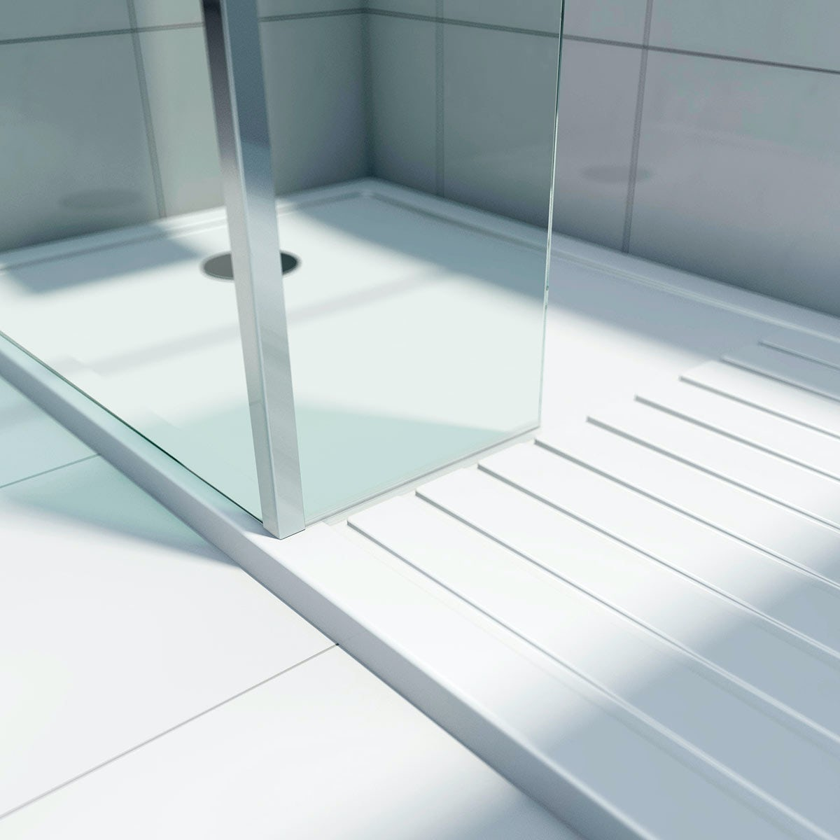 Mode 8mm Walk In Shower Glass Panel With Return Panel Tray ...