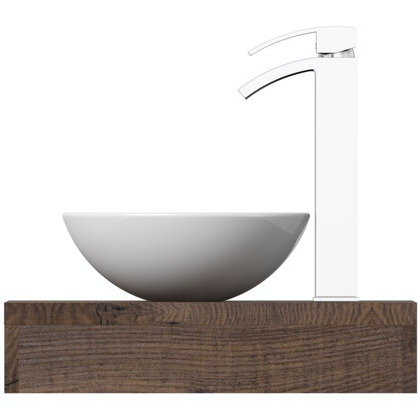 Mode Orion chestnut countertop shelf with Tahoe basin, tap and waste