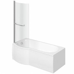 Evesham left handed P shaped shower bath 1500mm with 6mm shower screen and rail