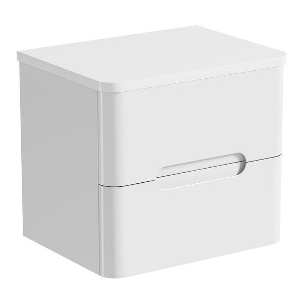Mode Ellis white wall hung countertop drawer unit 600mm with Calhoun basin