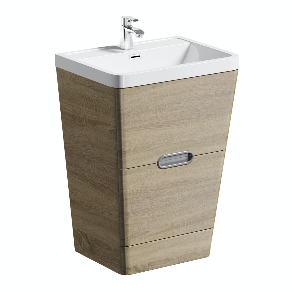 Mode Sherwood oak floor standing vanity unit and resin basin 600mm