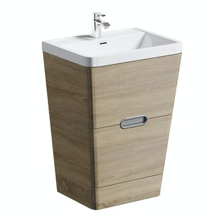Sherwood oak 600 floor standing vanity unit and resin basin