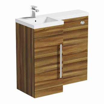MySpace walnut left handed unit including concealed cistern