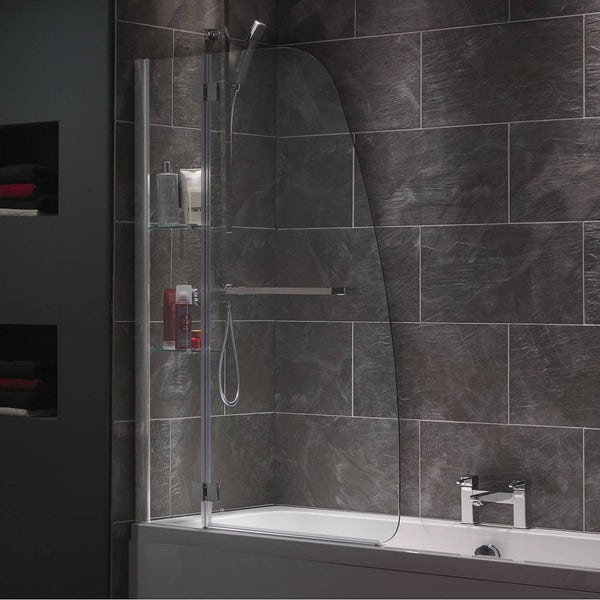 Mode Luxury 8mm Hinged Shower Bath Screen With Glass Shelves And Rail