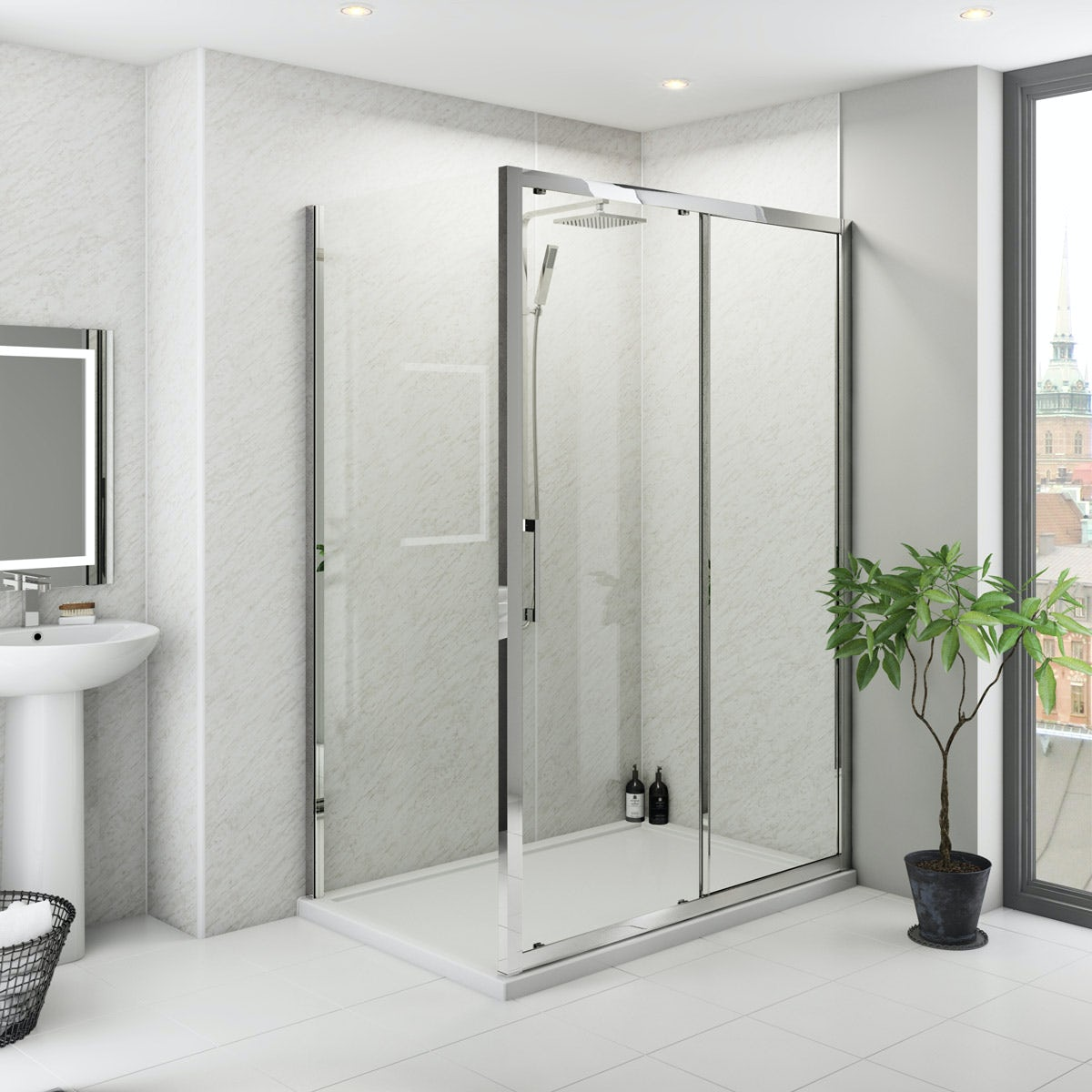 Multipanel Classic Grey Marble unlipped shower wall panel 2400 x 1200