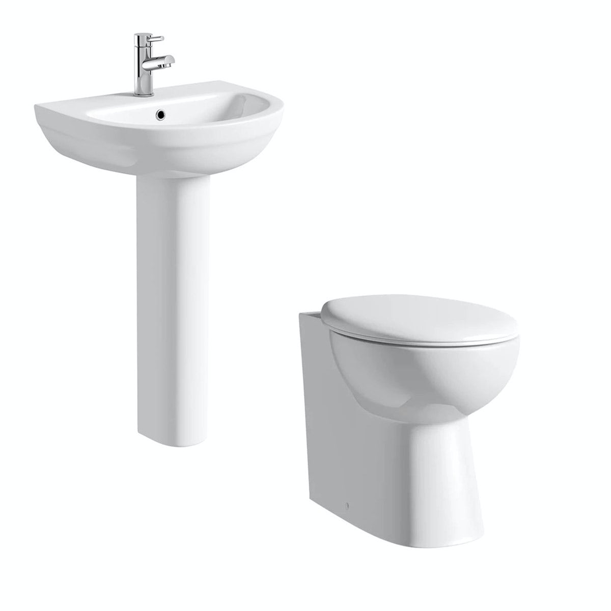 Clarity cloakroom suite with full pedestal basin 540mm
