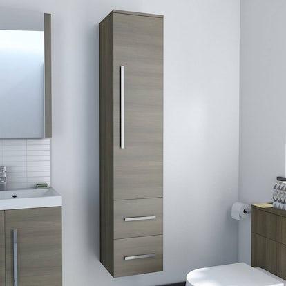 Drift walnut wall hung tall storage unit for Bathroom cabinets victoria plumb