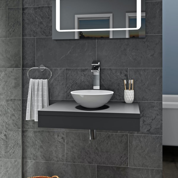 Mode Orion grey countertop shelf with Tahoe basin, tap and waste