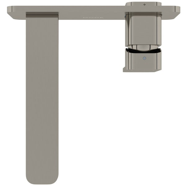 Mode Spencer square wall mounted brushed nickel basin mixer tap offer pack