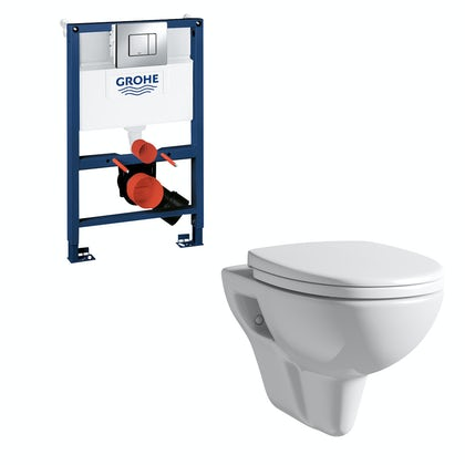 Orchard Eden wall hung toilet, Grohe frame and Skate Cosmopolitan push plate 0.82m