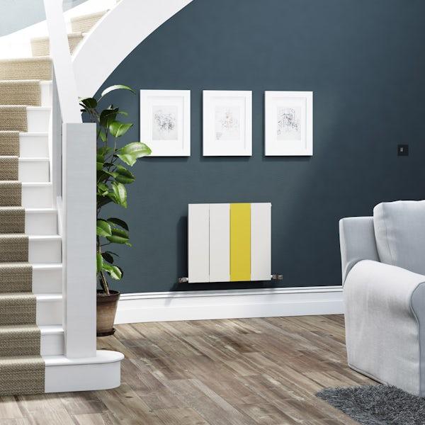 Terma Neo soft white and zinc yellow horizontal radiator 545 x 600