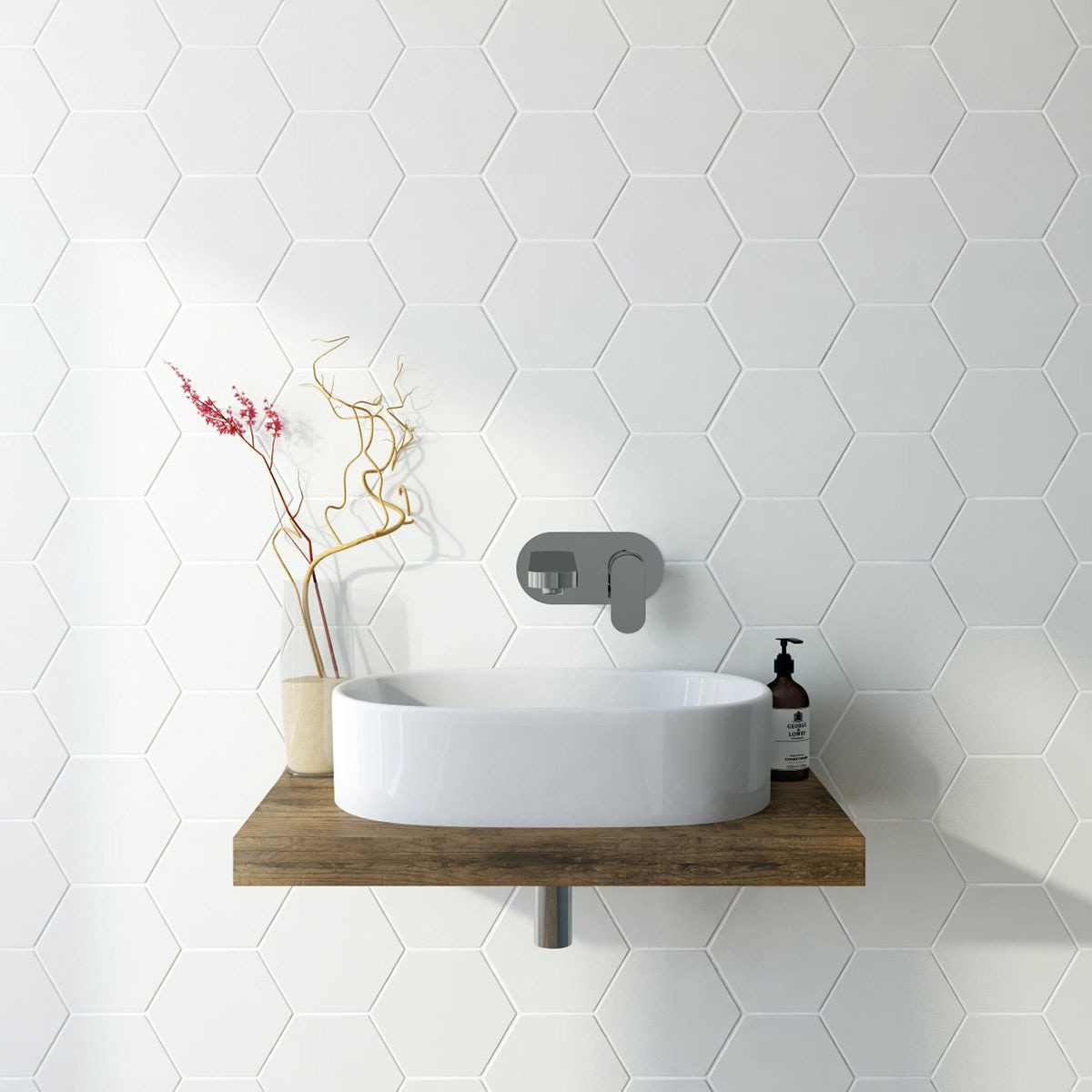 British Ceramic Tile Hex white matt tile 175mm x 202mm