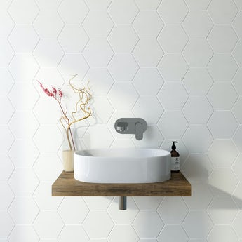 Hex white matt tile 175mm x 202mm