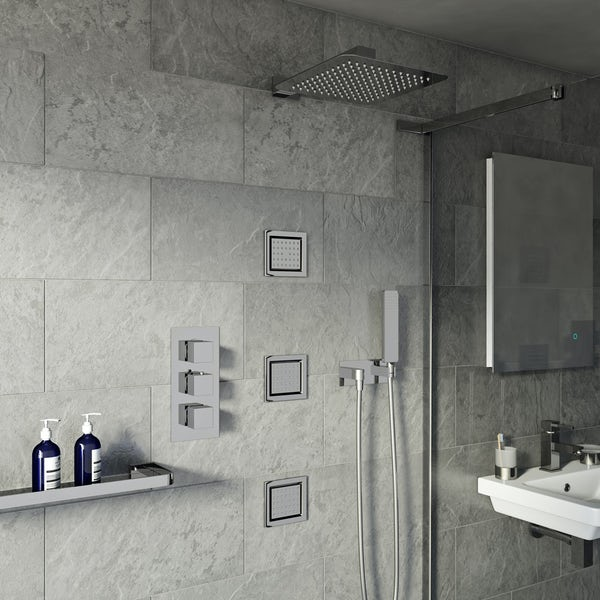 Spa Complete Square Thermostatic Triple Shower Valve with Diverter and Wall Shower Set