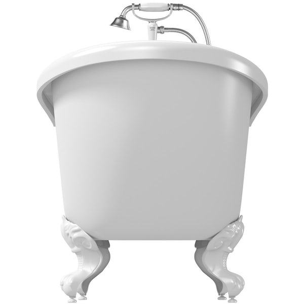 The Bath Co. Winchester roll top bath with white ball and claw feet offer pack