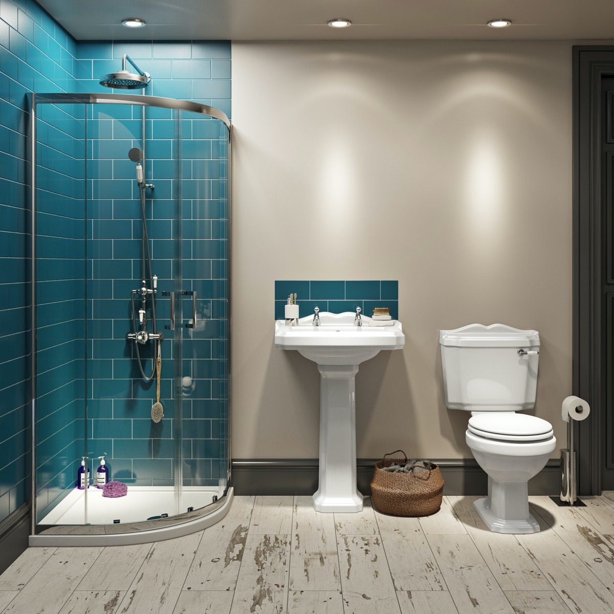 The Bath Co. Winchester complete bathroom suite with enclosure, tray, shower and taps
