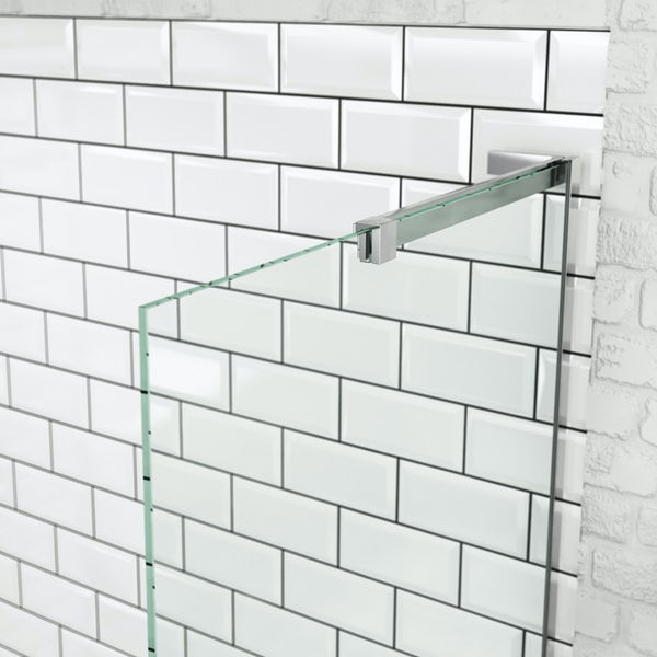 Mode 8mm walk in shower enclosure with large stone resin tray