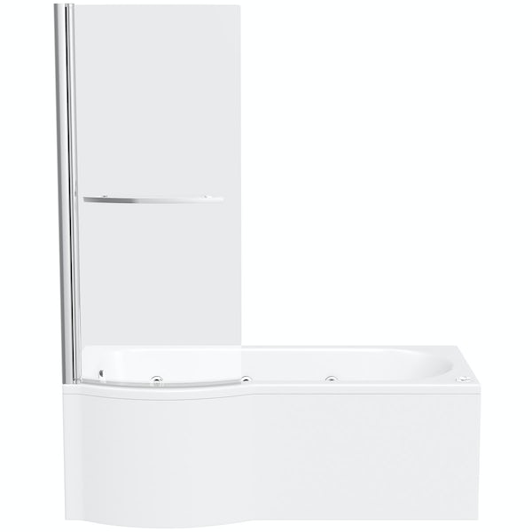 P shaped left handed 6 jet whirlpool shower bath with front panel and screen