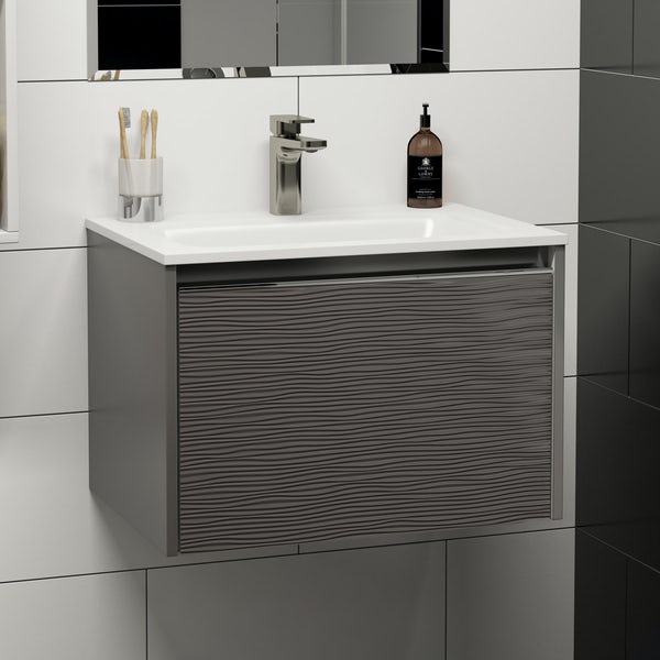 Mode Banks textured lava stone matt wall hung vanity unit and basin 600mm