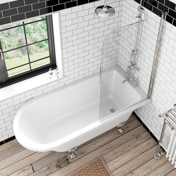 The Bath Co. Dulwich black bathroom suite with freestanding shower bath