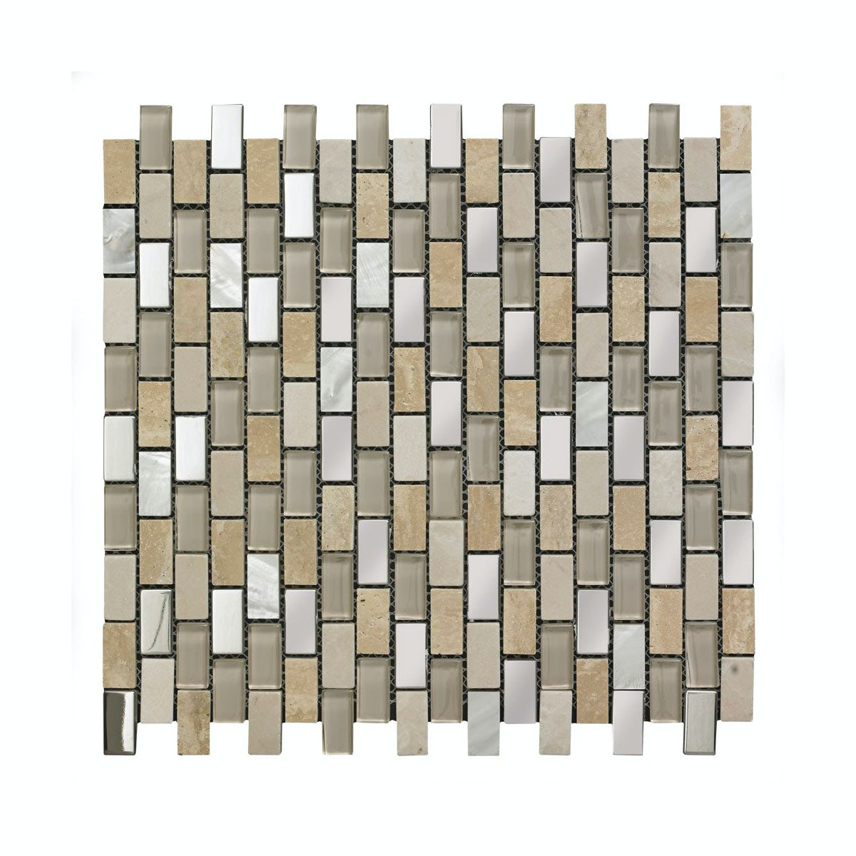 British Ceramic Tile Mosaic biscuit beige gloss tile 300mm x 300mm - 1 sheet