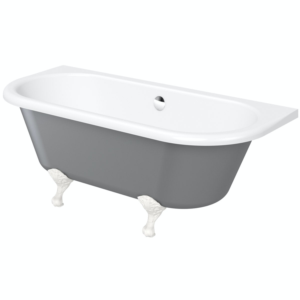 The Bath Co. Dulwich iron grey back to wall roll top bath with white ball and claw feet 1700 x 750