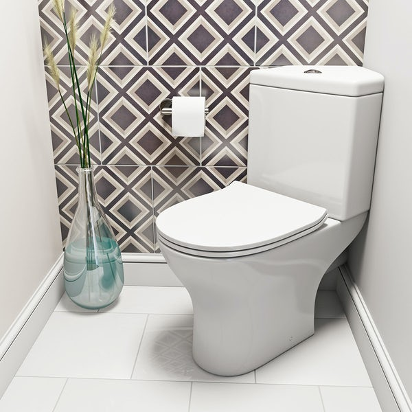 Derwent Round corner close coupled toilet with slimline soft close toilet seat