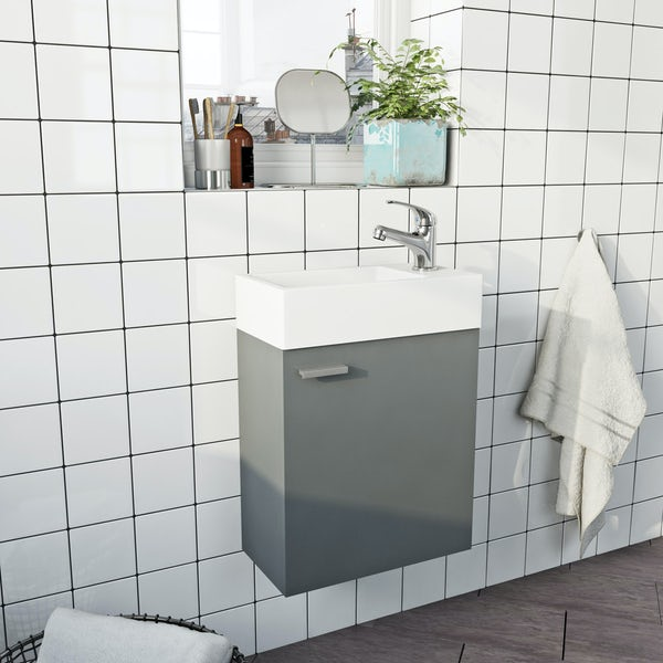 Clarity Compact satin grey wall hung cloakroom suite with contemporary close coupled toilet