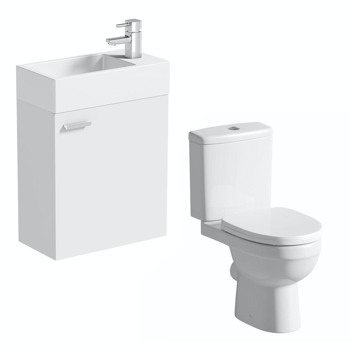 Clarity Compact white wall hung cloakroom suite with contemporary close coupled toilet
