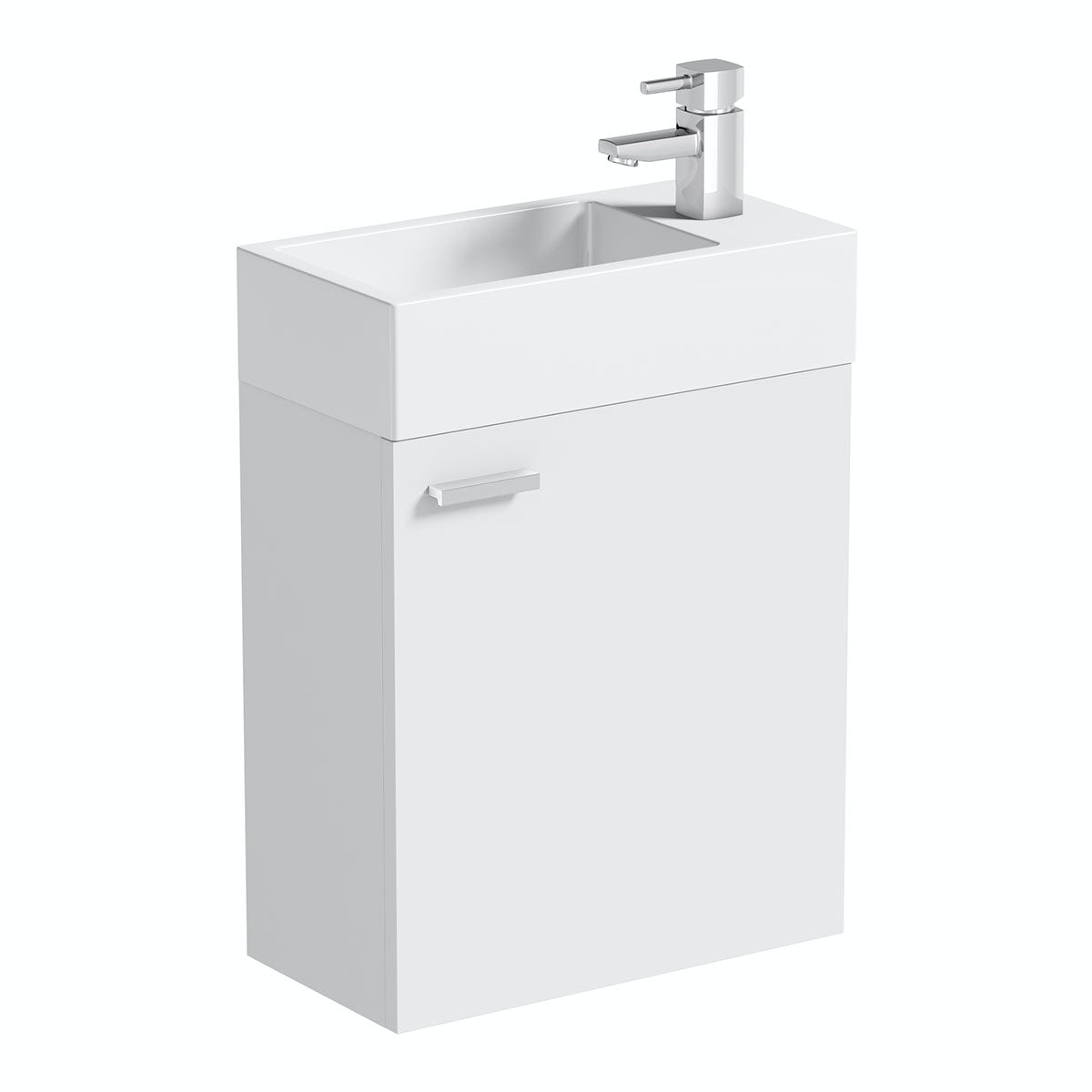 Compact White Wall Hung Unit with Resin Basin