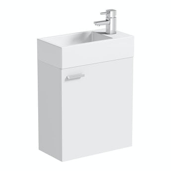Clarity Compact white wall hung cloakroom unit with resin basin 410mm