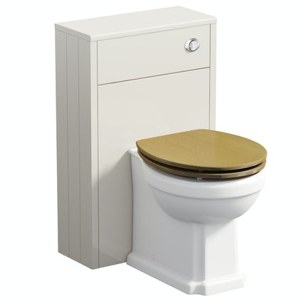 The Bath Co. Dulwich stone ivory slimline back to wall unit and toilet with oak effect seat