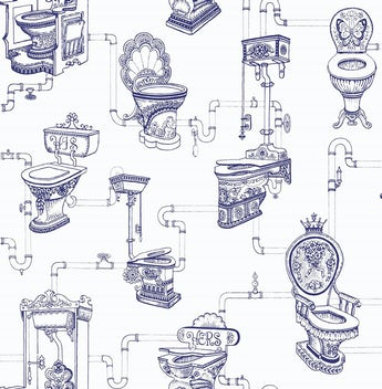 Graham & Brown Loo loo blue / white wallpaper