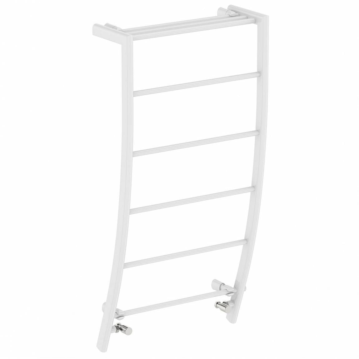 Orchard White curved heated towel rail 1200 x 600