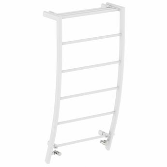 White curved heated towel rail 1200 x 600