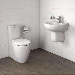 Maine close coupled toilet and semi pedestal basin suite 540mm