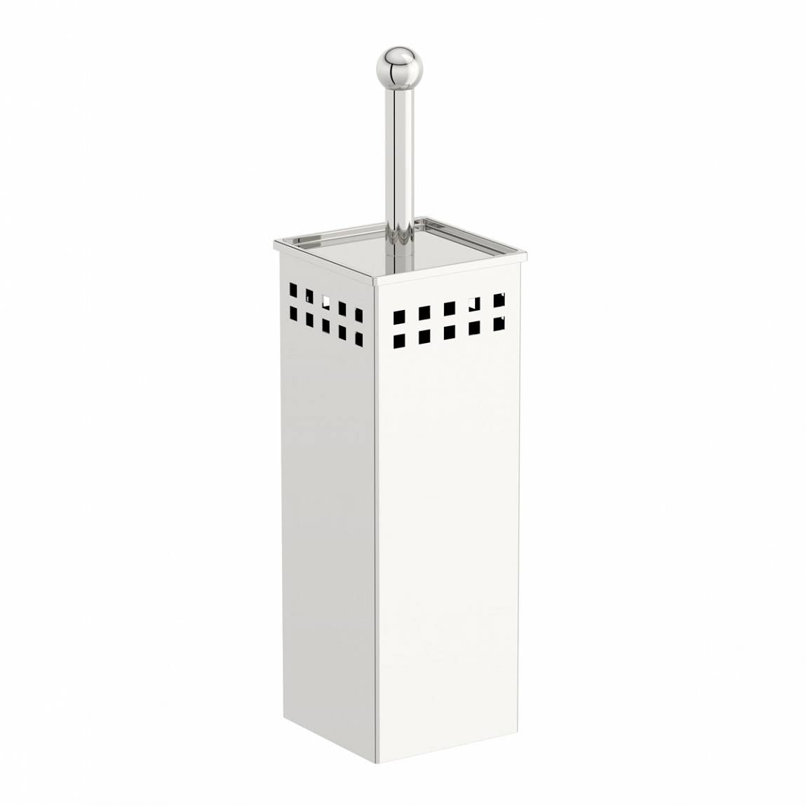 Orchard Options freestanding stainless steel square toilet brush holder