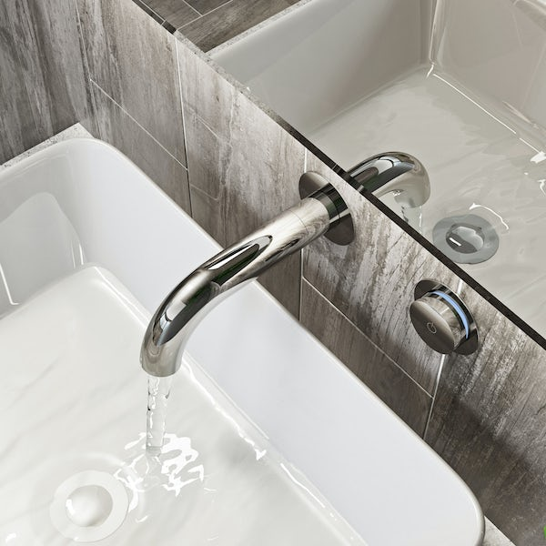 Mode Touch digital thermostatic wall mounted basin mixer tap