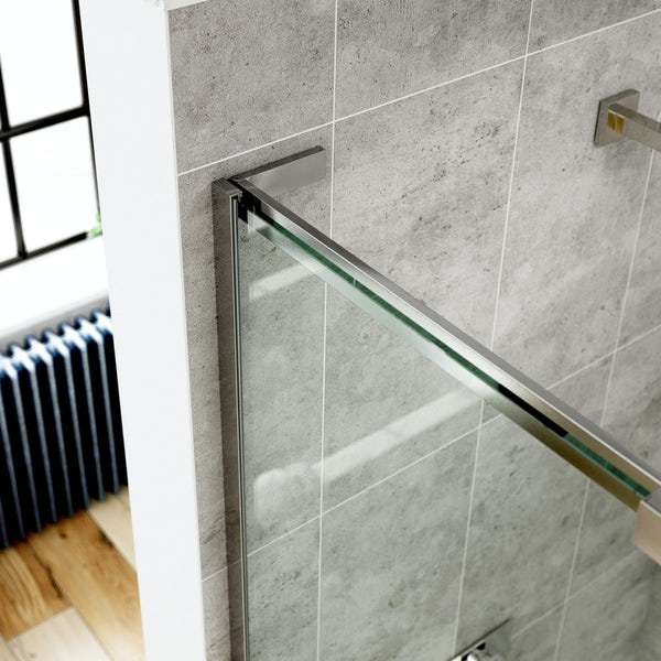 Mode 8mm walk in shower enclosure with stone tray 1200 x 800