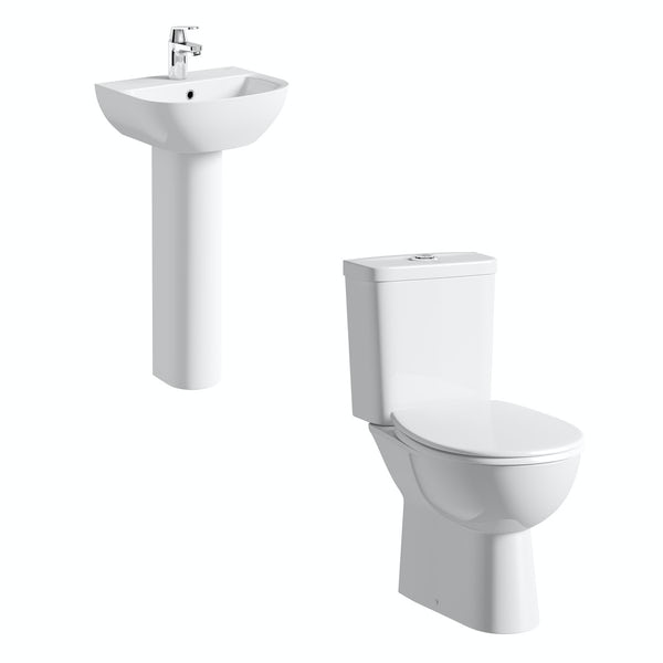 Grohe Bau rimless cloakroom suite with full pedestal basin 450mm