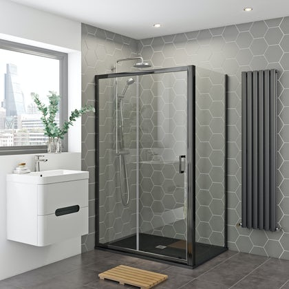 Mira and Mode black shower enclosure and slate effect tray bundle 1200 x 800 with Mira Agile mixer shower