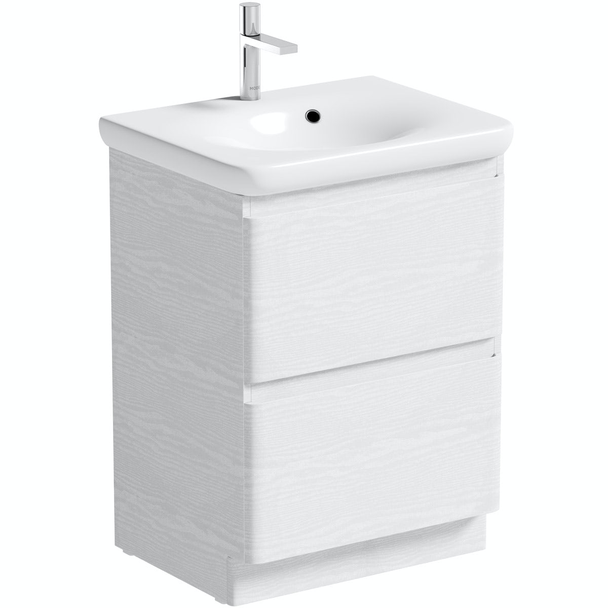 Mode Heath white LED floor standing unit and basin 600mm