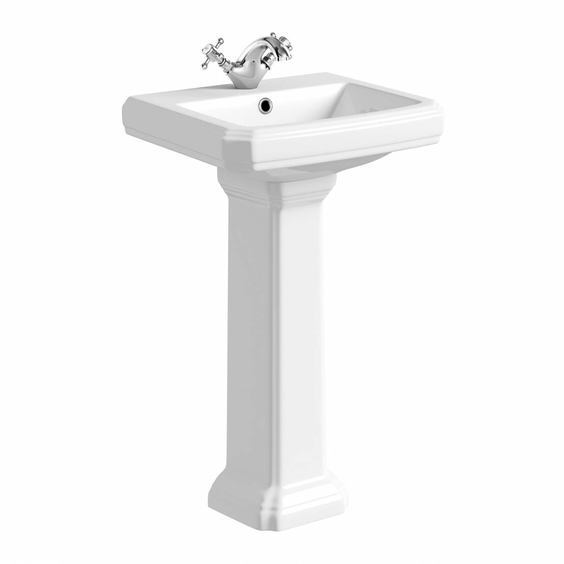 The Bath Co. Dulwich 1 tap hole full pedestal basin 500mm with waste