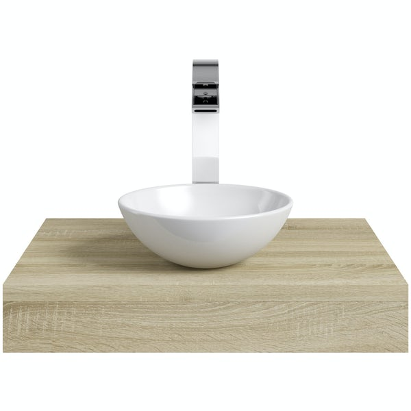 Mode Orion oak countertop shelf with Tahoe basin, tap and waste