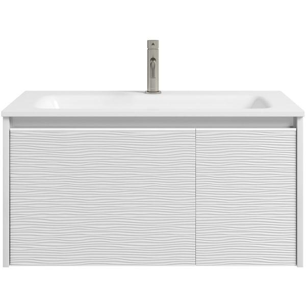 Mode Banks textured matt white wall hung vanity unit 800mm