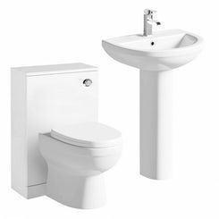 Energy back to wall toilet and white toilet unit with full pedestal basin 550mm