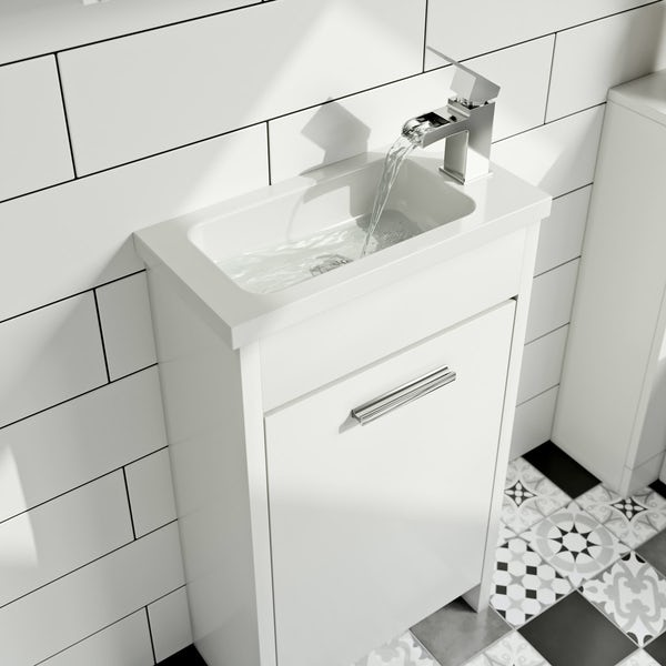 Clarity white cloakroom unit with basin